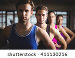 fit people with hands on hips... | Shutterstock . vector #411130216