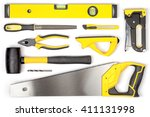 set of carpentry tools on white ... | Shutterstock . vector #411131998