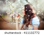 beautiful romantic brunette... | Shutterstock . vector #411132772