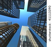 Skyscrapers against the sky - stock photo