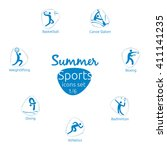 summer sports icons set  1 of 6 ... | Shutterstock .eps vector #411141235