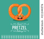 fun cartoon pretzel. bakery... | Shutterstock .eps vector #411144376