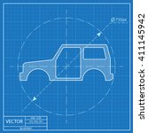 icon of car body. blueprint... | Shutterstock .eps vector #411145942
