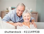 Stock photo portrait of romantic senior man with his wife at home 411149938