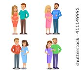 set of typical family in love ... | Shutterstock .eps vector #411149992