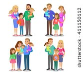set of typical family in love.... | Shutterstock .eps vector #411150112