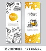 vector hand drawn gold honey... | Shutterstock .eps vector #411153382