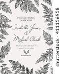 vintage wedding invitation in a ...   Shutterstock .eps vector #411156958