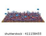 team supporter on stadium seats ...   Shutterstock .eps vector #411158455