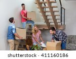cheerful young friends... | Shutterstock . vector #411160186
