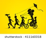 children running  friendship... | Shutterstock .eps vector #411160318
