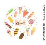 bright icons for ice cream ... | Shutterstock .eps vector #411162628