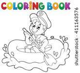 coloring book little sailor... | Shutterstock .eps vector #411163576