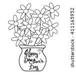 mother's day flower pot | Shutterstock .eps vector #411165952
