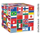 cube with world flags over... | Shutterstock .eps vector #411168646