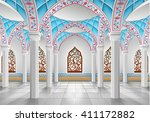 interior of mosque three...   Shutterstock .eps vector #411172882