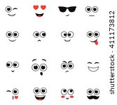 smiley faces isolated on white | Shutterstock .eps vector #411173812