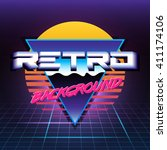 80s retro sci fi background vhs.... | Shutterstock .eps vector #411174106