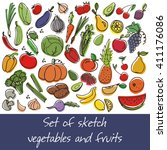 vector set of sketch fruit and... | Shutterstock .eps vector #411176086