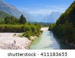 beautiful river soca  bovec ... | Shutterstock . vector #411183655