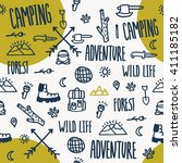 camping doodle seamless pattern.... | Shutterstock .eps vector #411185182
