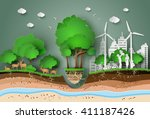 concept of eco friendly and... | Shutterstock .eps vector #411187426