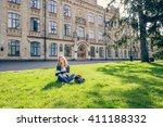 beautiful  happy young student... | Shutterstock . vector #411188332
