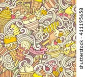 Cartoon hand-drawn ice cream doodles seamless pattern. Colorful detailed, with lots of objects vector background