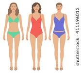 front view of beautiful women...   Shutterstock .eps vector #411196012