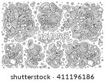 line art vector hand drawn... | Shutterstock .eps vector #411196186