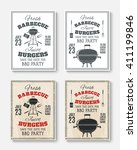 set of four vintage barbecue... | Shutterstock .eps vector #411199846