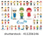 big set of 45 cute cartoon... | Shutterstock .eps vector #411206146