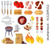 summer picnic  barbecue and... | Shutterstock .eps vector #411209212