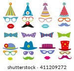 birthday party photo booth... | Shutterstock .eps vector #411209272