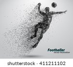 silhouette of a football player ... | Shutterstock .eps vector #411211102
