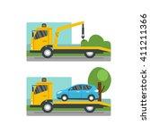 car evacuation concept. road... | Shutterstock .eps vector #411211366