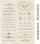set of doodle sketch decorative ... | Shutterstock .eps vector #411211612