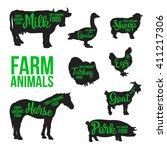 Black Contour Farm Animals Wit...