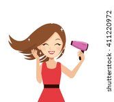 woman drying her hair with... | Shutterstock .eps vector #411220972