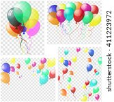transparent colorful balloons... | Shutterstock .eps vector #411223972