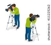 video camera operator working... | Shutterstock .eps vector #411225262