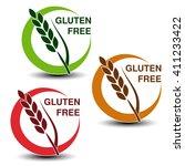 vector gluten free symbols... | Shutterstock .eps vector #411233422