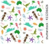 australia silhouette pattern  ... | Shutterstock .eps vector #411236626