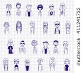 blue ink sketches of teens  ... | Shutterstock .eps vector #411241732