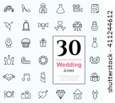 set of wedding icons for web or ... | Shutterstock .eps vector #411244612