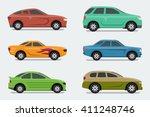 flat design style vector cars ... | Shutterstock .eps vector #411248746