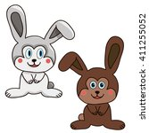 vector isolated  rabbit and... | Shutterstock .eps vector #411255052