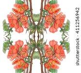 quince flower pattern 1 | Shutterstock . vector #411256942