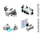 flat 3d web isometric office... | Shutterstock .eps vector #411262735