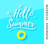 hello summer. water view from... | Shutterstock .eps vector #411263146